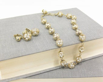 Vintage Trifari Faux Pearl Cage Bead Choker & Earring Set