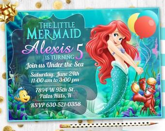 Little mermaid Birthday invitation card invite Mermaid Ariel party invitation Thank You card