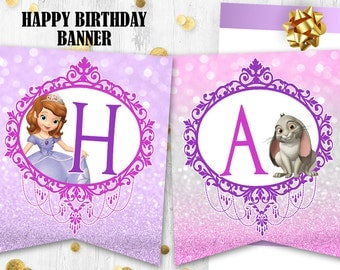 Princess Sofia Happy birthday banner Bunting Flags Sofia the First birthday party prints