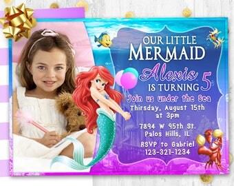 Little mermaid Ariel Birthday invitation card invite Birthday party invite card