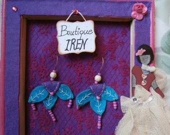 Felt Earrings Handmade With Felt  Dangle Jewelry Felted  Fiber Needlework Decoration Beads  Gift