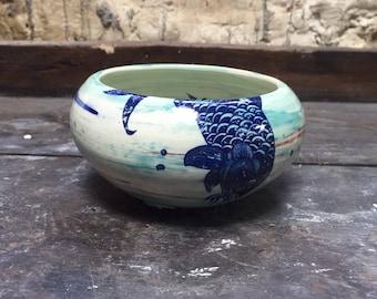 Stoneware, koi carp pattern Bowl