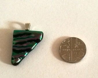 Purple Green Dichroic Fused Glass Pendant