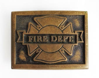 Vintage Brass Belt Buckle FIRE DEPT