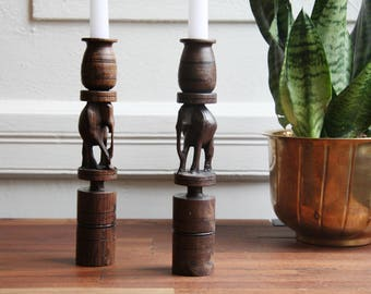 Vintage hand carved wooden candle holders–wooden candleholders–African art-candlesticks–elephant carved–vintage candlestick–wood–hand carved