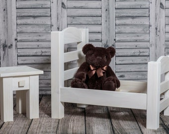 Handcrafted solid wood newborn bed photography prop with nightstand