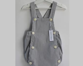 Gray and white striped romper baby cotton