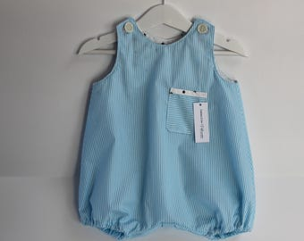 Romper striped baby blue and white stars
