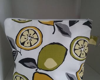 Citrus zing with a slice of lime cotton project bag perfect for sock knitting or similar small crochet projects.
