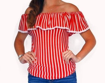 Blouse Red & White