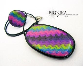 Rainbow Oval Pendant round Ring jewelry set polymer clay pendant Multicoloured pendant Geometric pendant stripe Modern Necklace pop-art neon