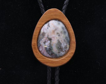 Green Moss Agate Men's Western Bola