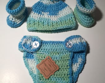 Baby Boy Diaper Cover/Booties/Hat