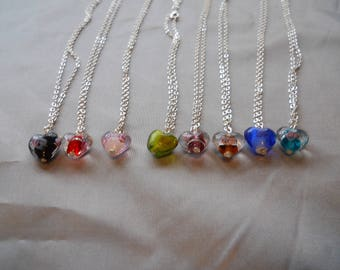 FREE SHIPPING* !!!!!!!   Lampwork glass colored heart necklace