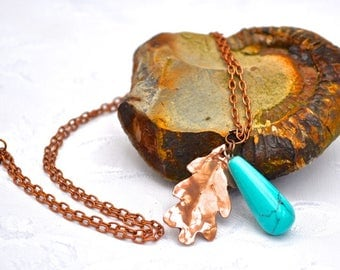 Handmade Copper Oak Leaf and Reiki Turquoise Drop Pendant.