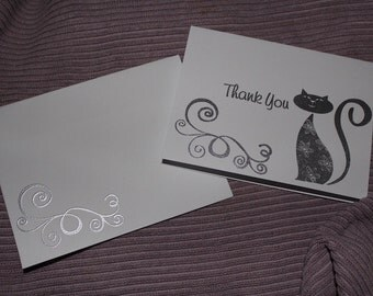 Cat Thank You Card Set of 10 - Heat Embossed Silver on White, Blank Inside