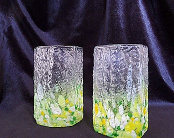 Vintage Frosted Rippled Surface with Colored Glass Pieces set of Two Drinking Glasses