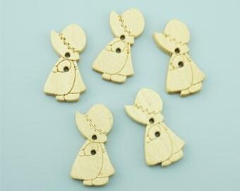 50pcs 27x16mm Cute Girl Wood Buttons,Cartoon Wooden Buttons NK014