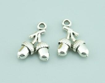 20pcs 12x12mm Antique Silver Nut Charm Pendants,Pinecone Charm Pendants Z7538