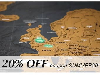Premium Luxury Scratch Off World Map Home Decor Gift For Graduation