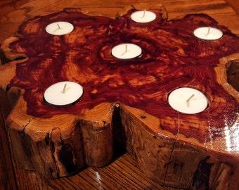 Log Candle holder Center peice