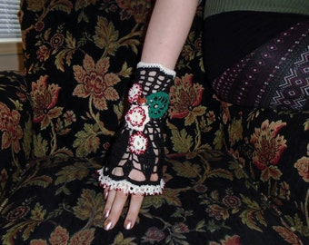Black Irish Crochet Wrist Cuff-Foxy Lady