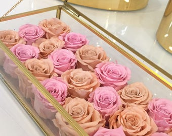 21 Mini Eternity Roses in a Rectangle Box