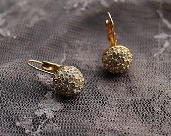 Stunning Authentic Swarovski Swan Signed Designer Vintage Gold Crystal Earrings
