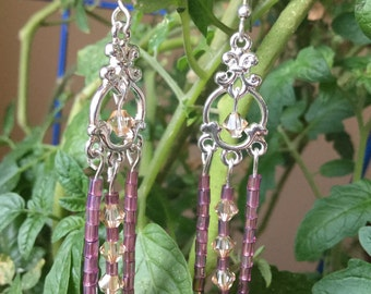 Long Chandelier Earrings Purple Champagne Swarovski Crystals Silver Gifts for Her Bridesmaid Gifts