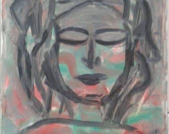 olio su tela - 20 x 30 cm - donna etno -