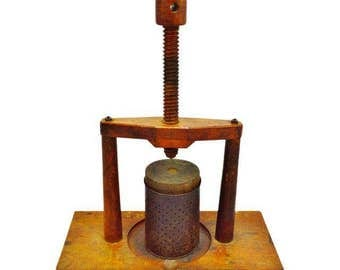 Early Hand Made Primitive Fruit Press, Wine Press, with Wood Threaded Press Screw