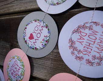 Mothers day garland, Paper garland, Flowers decor, Pink garlands, White garland, Mom garland, Mothers day decorations, Gray garlands
