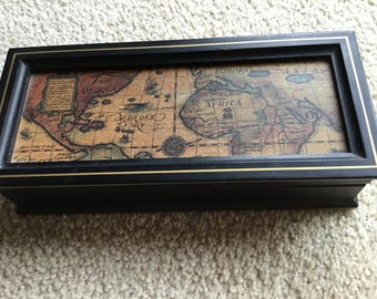 Wood 2 Section  Vintage Old World MAP jewelry-trinket BOX