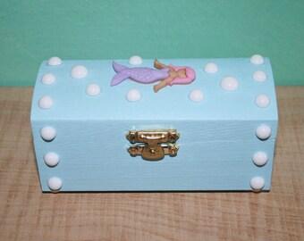 Blue Kawaii Mermaid Trinket Jewelry Box