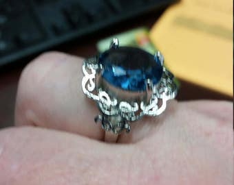 Sterling silver ring with blue stone (reduced price)