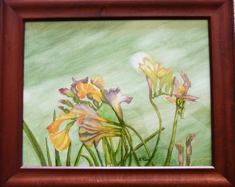 "Framed original watercolor of Iris flowers,  14"" x 17"""