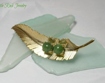 Floral, Jade and Gold Plated Brooch.