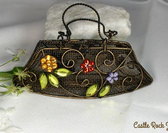 Vintage Copper Wire Purse with Rhinetone Flowers