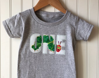 First birthday shirt featuring a caterpillar. Bug themed birthday. party, first, Hungry caterpillar. Very hungry caterpillar