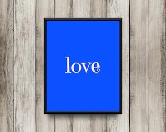 Love - Blue Printable 8x10