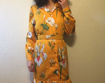 Vintage Italian Floral Dress with Matching Belt
