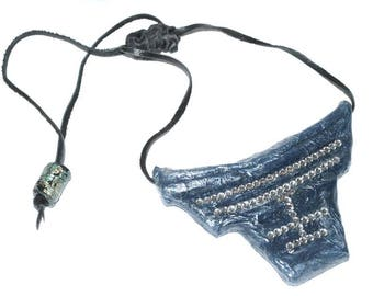 Statement Necklace,  Bold Necklace. Blue and Silver Statement Necklace with adjustable Leather Cord