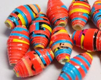 Recycled paper beads (10)