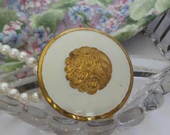 Richard Hudnut Lotus Compact, Gold and White Powder Compact