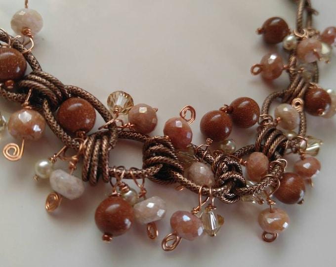 Peach Silverite bead bracelet, peach Silverite bracelet, swarovski pearl bracelet ladies bracelet. Copper tone bracelet 7 1/2 inches.
