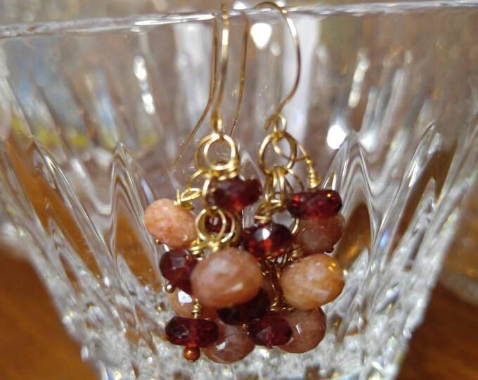 Garnet earrings, Silverite sapphire earrings, sapphires and garnet cluster dangle earrings in gold. Yellow gold.