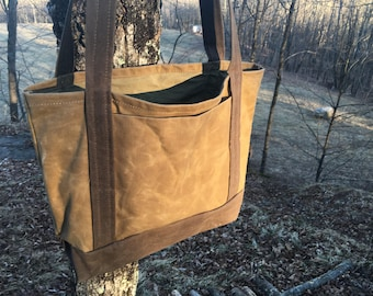 Beige Market Tote Bag ~ Waxed Canvas