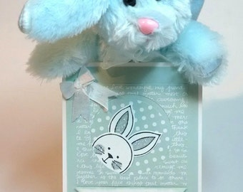 Baby Card, Stampin Up Card, Card For Baby Boy, Congratulations Baby Card, Baby Shower Card, Plush Bunny Included, Gift For Baby