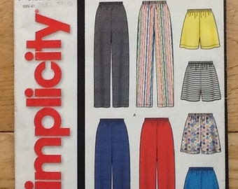 5735 Simplicity sewing pattern, it's so easy series.  Ladies and men's pull on pants and shorts