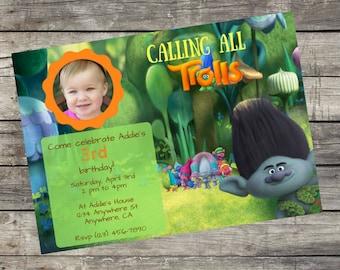 Personalized Dreamworks Trolls Branch Birthday Invitation- Digital File Only- DIY 5x7